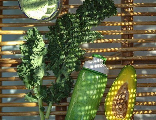 Sinh tố dừa, bơ & cải kale